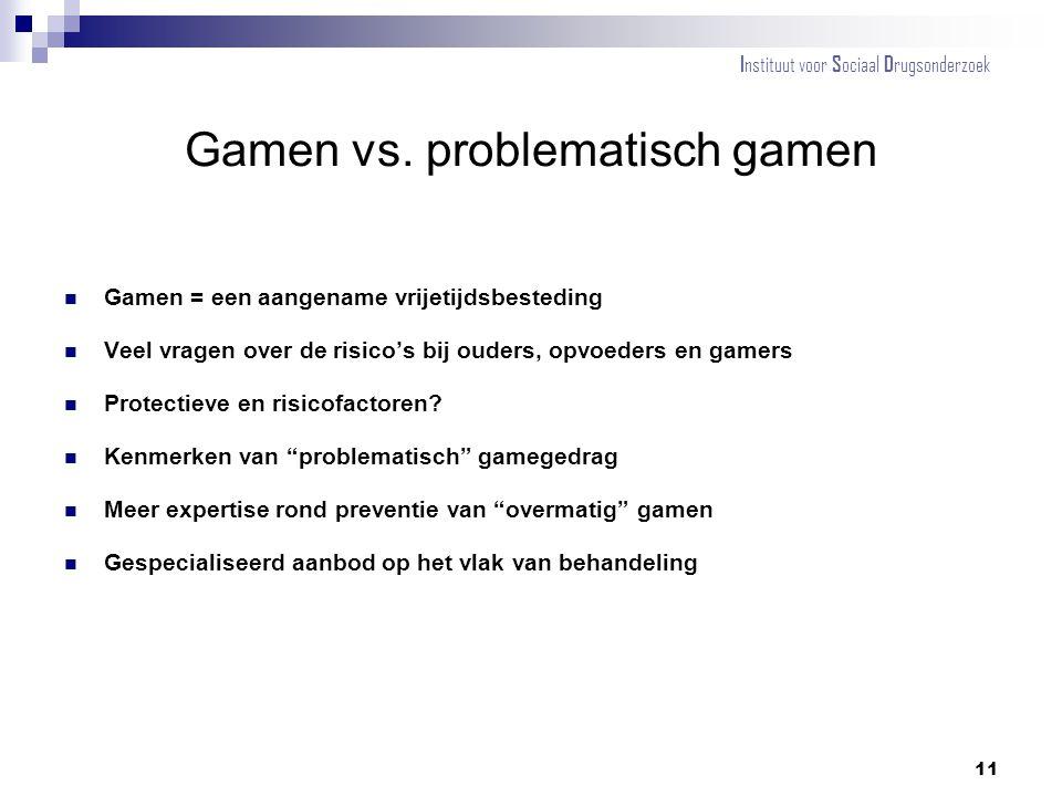 Gamen vs. problematisch gamen Gamen = een aangename vrijetijdsbesteding Veel vragen over de risico's bij ouders, opvoeders en gamers Protectieve en ri