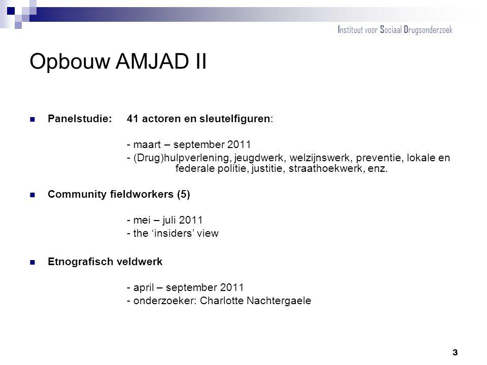 Opbouw AMJAD II Panelstudie:41 actoren en sleutelfiguren: - maart – september 2011 - (Drug)hulpverlening, jeugdwerk, welzijnswerk, preventie, lokale e