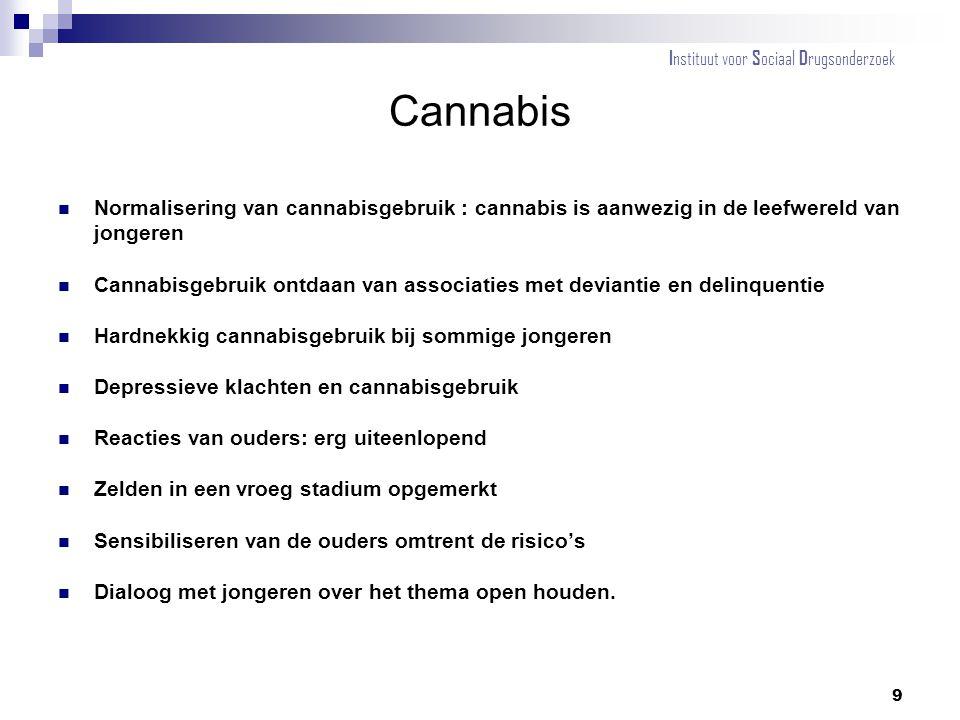 Cannabis Normalisering van cannabisgebruik : cannabis is aanwezig in de leefwereld van jongeren Cannabisgebruik ontdaan van associaties met deviantie