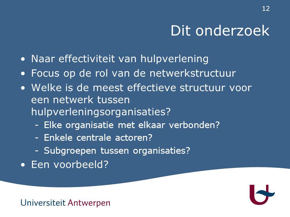 12 Dit onderzoek Naar effectiviteit van hulpverlening Focus op de rol van de netwerkstructuur Welke is de meest effectieve structuur voor een netwerk