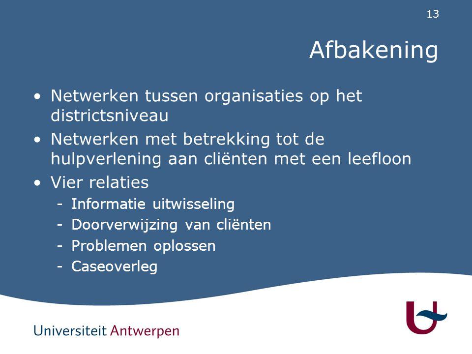 13 Afbakening Netwerken tussen organisaties op het districtsniveau Netwerken met betrekking tot de hulpverlening aan cliënten met een leefloon Vier re