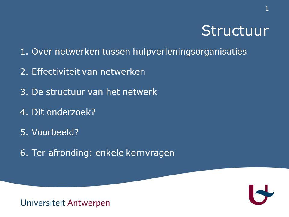1 Structuur 1. Over netwerken tussen hulpverleningsorganisaties 2. Effectiviteit van netwerken 3. De structuur van het netwerk 4. Dit onderzoek? 5. Vo