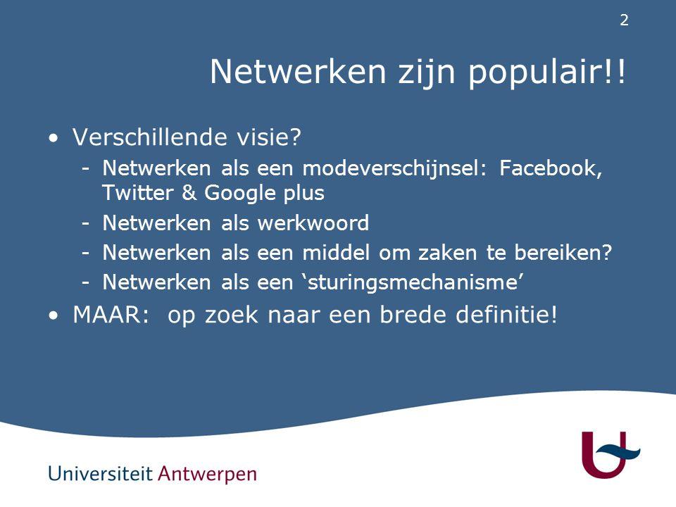 2 Netwerken zijn populair!! Verschillende visie? -Netwerken als een modeverschijnsel: Facebook, Twitter & Google plus -Netwerken als werkwoord -Netwer