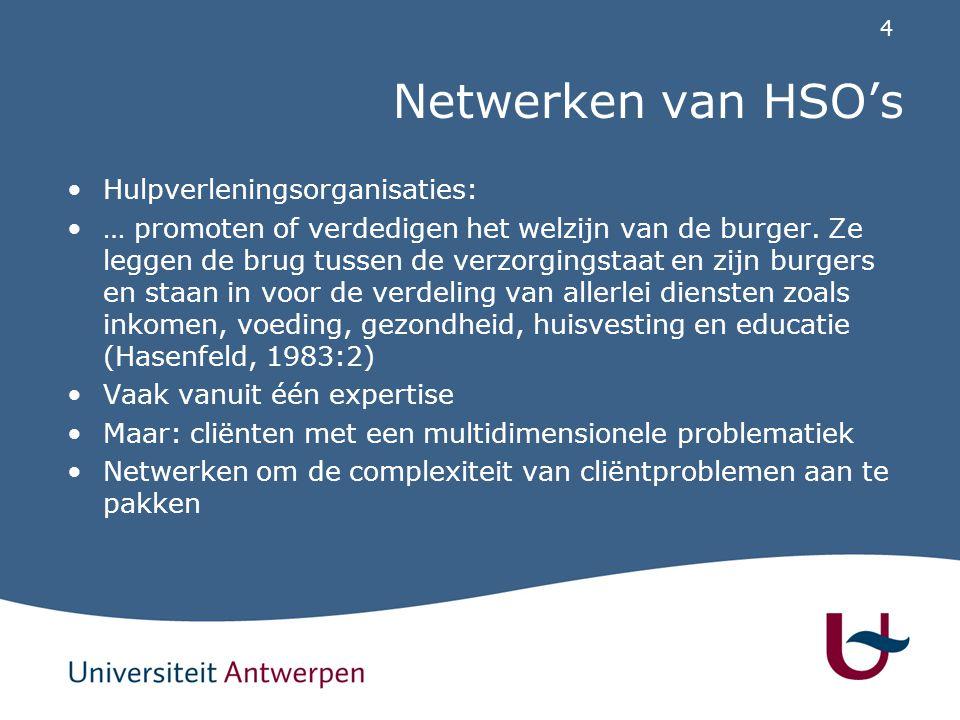 4 Netwerken van HSO's Hulpverleningsorganisaties: … promoten of verdedigen het welzijn van de burger. Ze leggen de brug tussen de verzorgingstaat en z