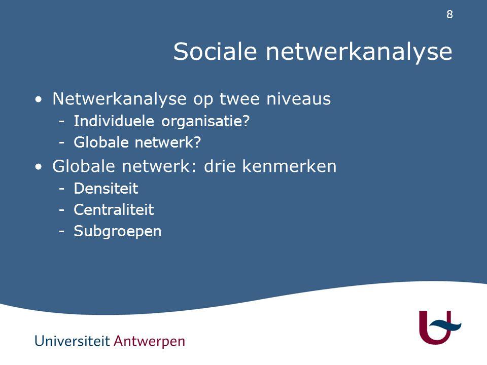 8 Sociale netwerkanalyse Netwerkanalyse op twee niveaus -Individuele organisatie? -Globale netwerk? Globale netwerk: drie kenmerken -Densiteit -Centra