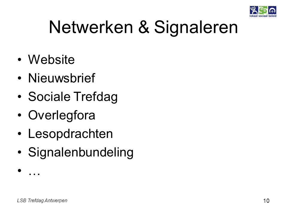 LSB Trefdag Antwerpen 10 Netwerken & Signaleren Website Nieuwsbrief Sociale Trefdag Overlegfora Lesopdrachten Signalenbundeling …