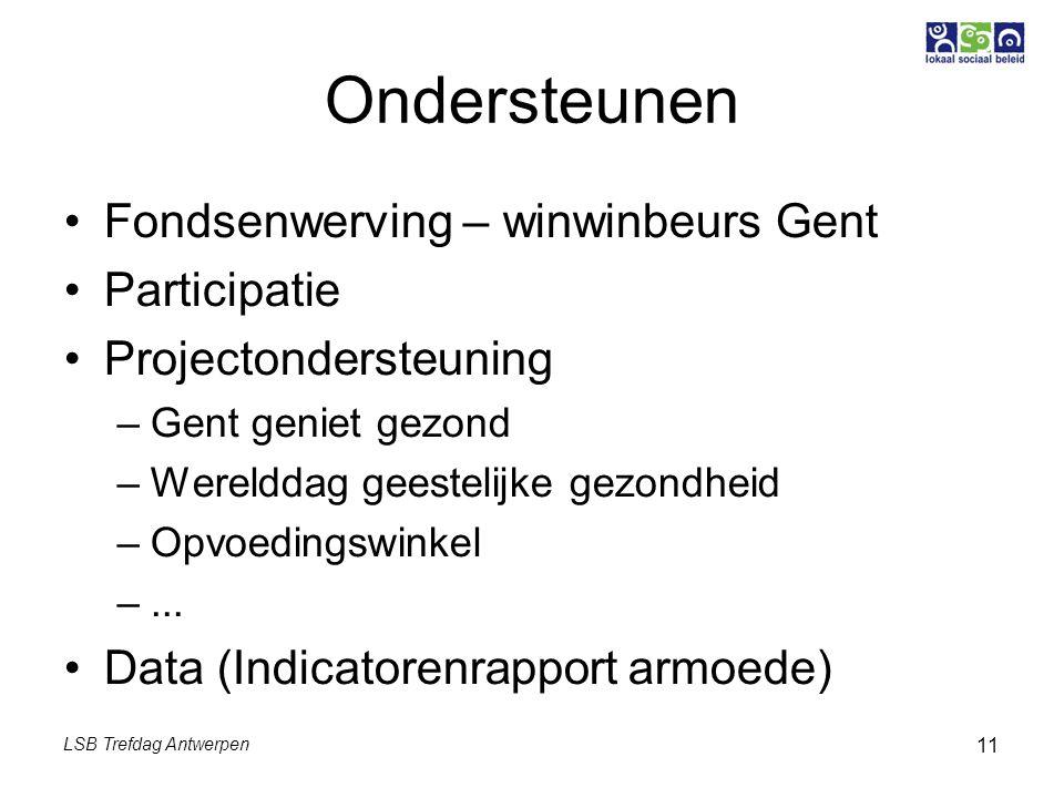 LSB Trefdag Antwerpen 11 Ondersteunen Fondsenwerving – winwinbeurs Gent Participatie Projectondersteuning –Gent geniet gezond –Werelddag geestelijke gezondheid –Opvoedingswinkel –...