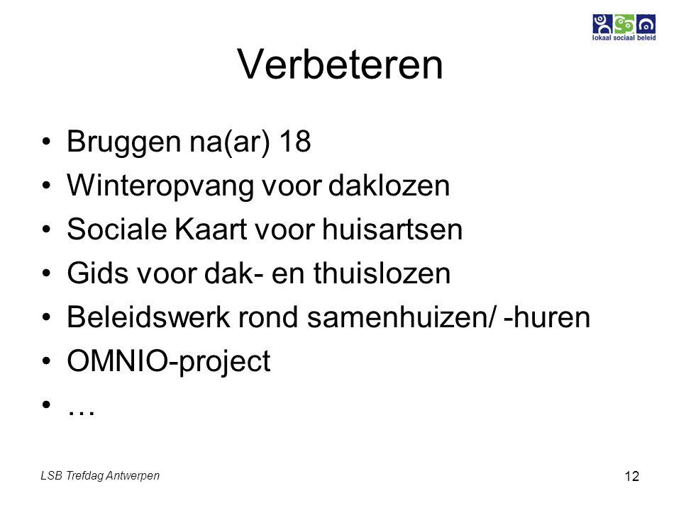 LSB Trefdag Antwerpen 12 Verbeteren Bruggen na(ar) 18 Winteropvang voor daklozen Sociale Kaart voor huisartsen Gids voor dak- en thuislozen Beleidswerk rond samenhuizen/ -huren OMNIO-project …
