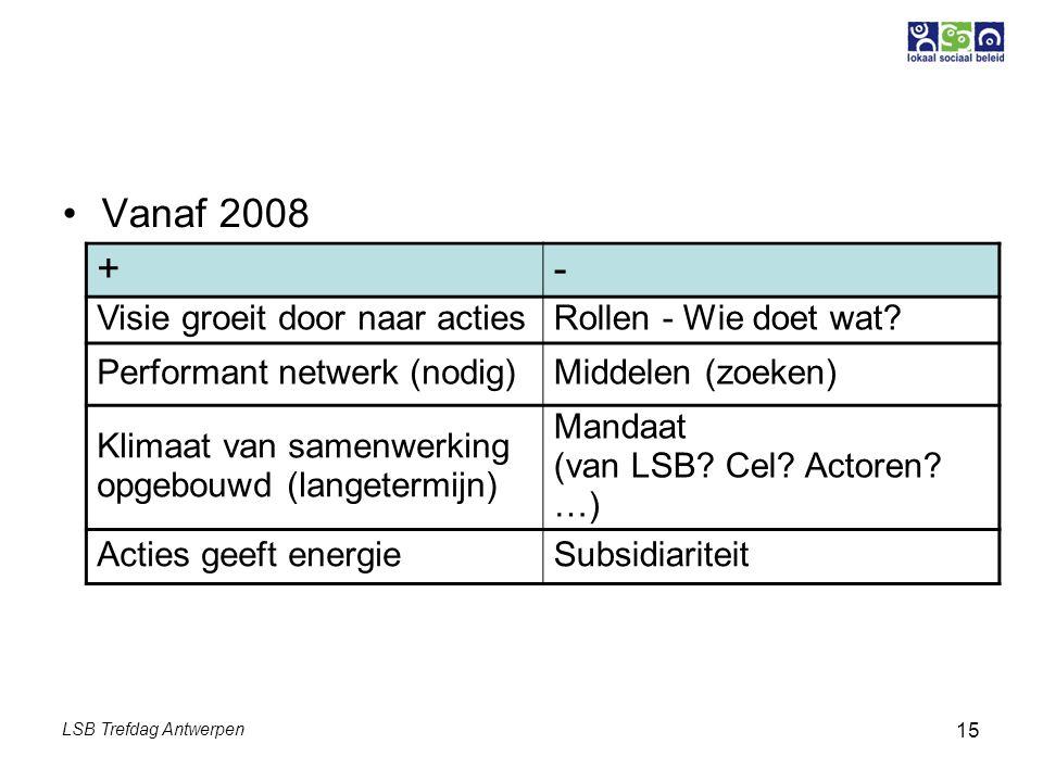 LSB Trefdag Antwerpen 15 Vanaf 2008 +- Visie groeit door naar actiesRollen - Wie doet wat? Performant netwerk (nodig)Middelen (zoeken) Klimaat van sam