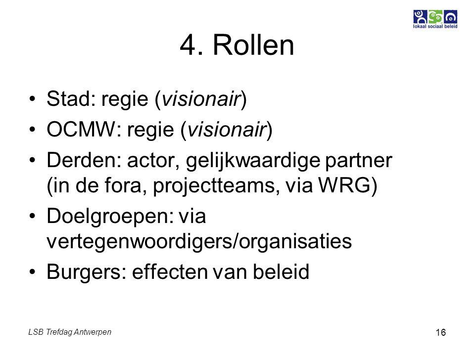 LSB Trefdag Antwerpen 16 4. Rollen Stad: regie (visionair) OCMW: regie (visionair) Derden: actor, gelijkwaardige partner (in de fora, projectteams, vi