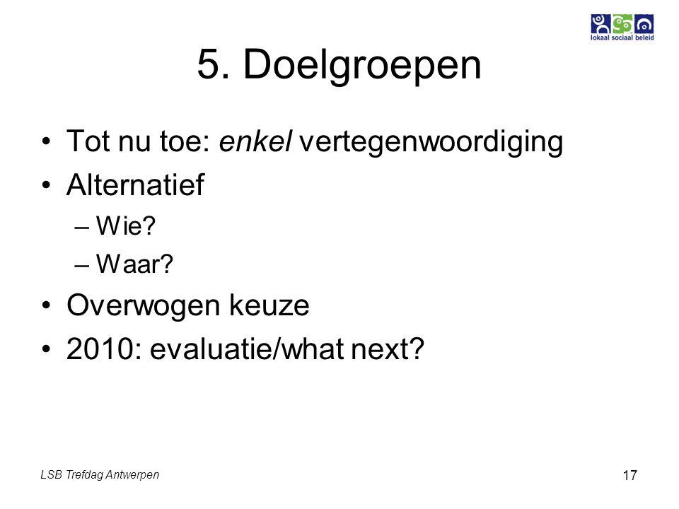LSB Trefdag Antwerpen 17 5. Doelgroepen Tot nu toe: enkel vertegenwoordiging Alternatief –Wie? –Waar? Overwogen keuze 2010: evaluatie/what next?