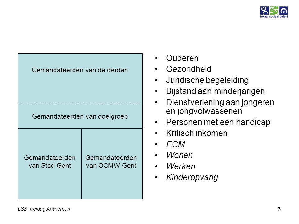 LSB Trefdag Antwerpen 6 Ouderen Gezondheid Juridische begeleiding Bijstand aan minderjarigen Dienstverlening aan jongeren en jongvolwassenen Personen
