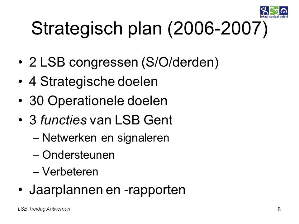 LSB Trefdag Antwerpen 8 Strategisch plan (2006-2007) 2 LSB congressen (S/O/derden) 4 Strategische doelen 30 Operationele doelen 3 functies van LSB Gent –Netwerken en signaleren –Ondersteunen –Verbeteren Jaarplannen en -rapporten