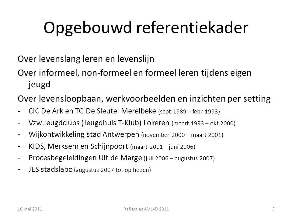 Opgebouwd referentiekader Over levenslang leren en levenslijn Over informeel, non-formeel en formeel leren tijdens eigen jeugd Over levensloopbaan, werkvoorbeelden en inzichten per setting -CIC De Ark en TG De Sleutel Merelbeke (sept 1989 – febr 1993) -Vzw Jeugdclubs (Jeugdhuis T-Klub) Lokeren (maart 1993 – okt 2000) -Wijkontwikkeling stad Antwerpen (november 2000 – maart 2001) -KIDS, Merksem en Schijnpoort (maart 2001 – juni 2006) -Procesbegeleidingen Uit de Marge (juli 2006 – augustus 2007) -JES stadslabo (augustus 2007 tot op heden) 16 mei 20113Reflecties AMJAD 2011