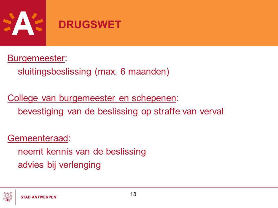 13 DRUGSWET Burgemeester: sluitingsbeslissing (max.