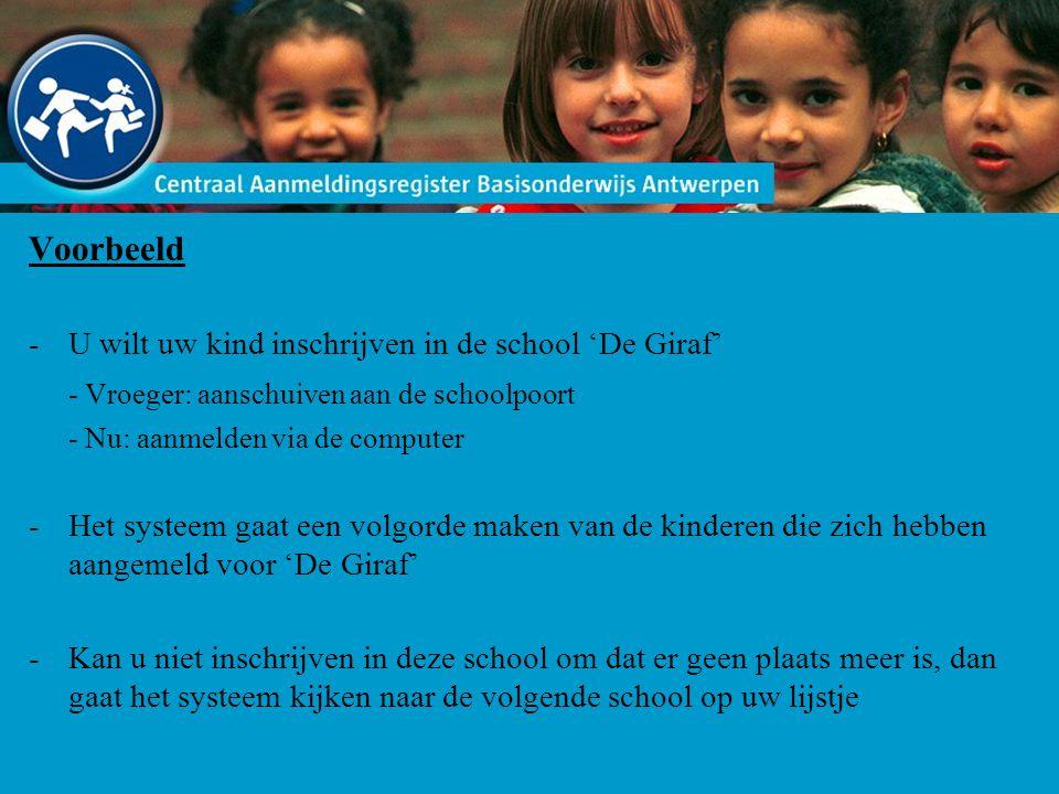 Voorbeeld -U wilt uw kind inschrijven in de school 'De Giraf' - Vroeger: aanschuiven aan de schoolpoort - Nu: aanmelden via de computer -Het systeem g
