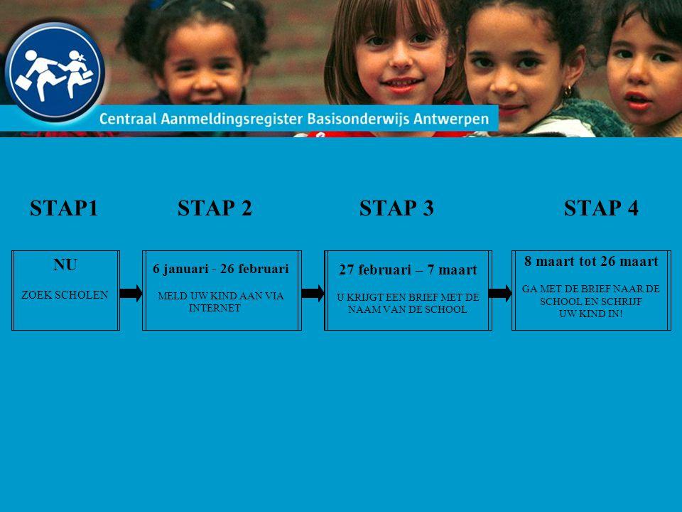 STAP 1: Kies scholen -Informeer u over verschillende scholen -Kies een aantal scholen (ongeveer 5) -Maak een lijstje in volgorde van uw voorkeur - School 1 - School 2 - School 3 - …