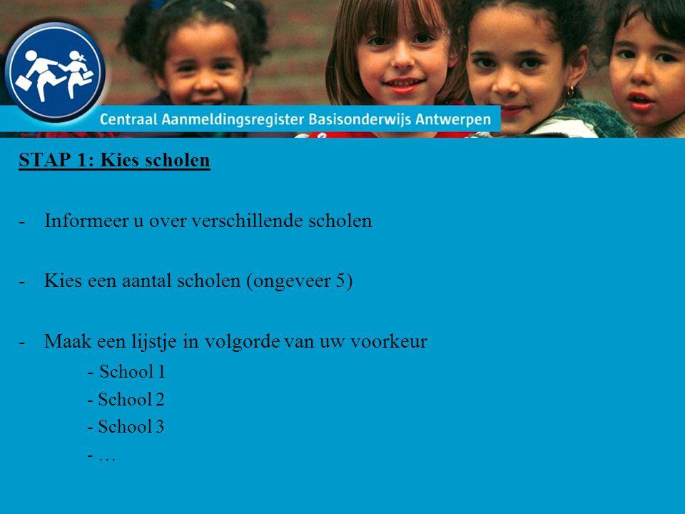 STAP 1: Kies scholen -Informeer u over verschillende scholen -Kies een aantal scholen (ongeveer 5) -Maak een lijstje in volgorde van uw voorkeur - Sch
