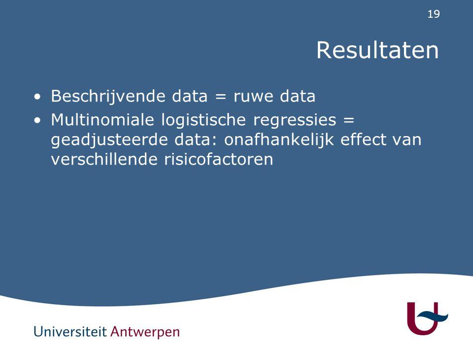 19 Resultaten Beschrijvende data = ruwe data Multinomiale logistische regressies = geadjusteerde data: onafhankelijk effect van verschillende risicofa