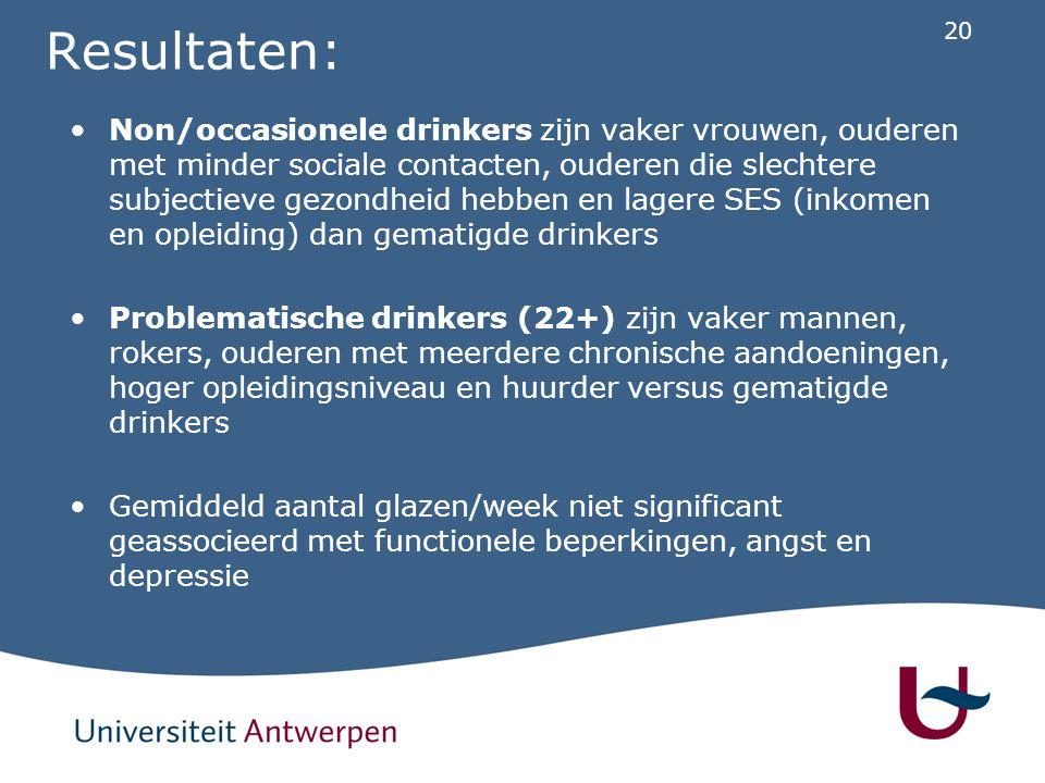 20 Resultaten: Non/occasionele drinkers zijn vaker vrouwen, ouderen met minder sociale contacten, ouderen die slechtere subjectieve gezondheid hebben