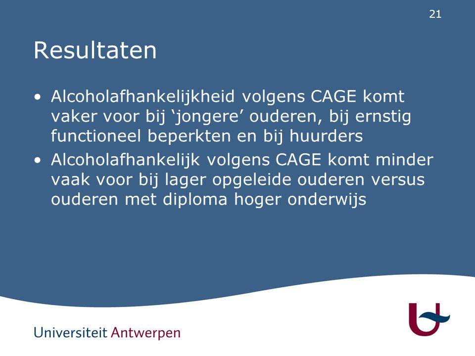 21 Resultaten Alcoholafhankelijkheid volgens CAGE komt vaker voor bij 'jongere' ouderen, bij ernstig functioneel beperkten en bij huurders Alcoholafha