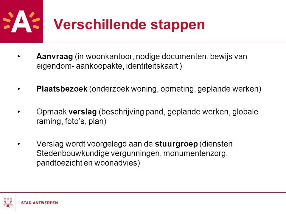 Verschillende stappen Aanvraag (in woonkantoor; nodige documenten: bewijs van eigendom- aankoopakte, identiteitskaart ) Plaatsbezoek (onderzoek woning