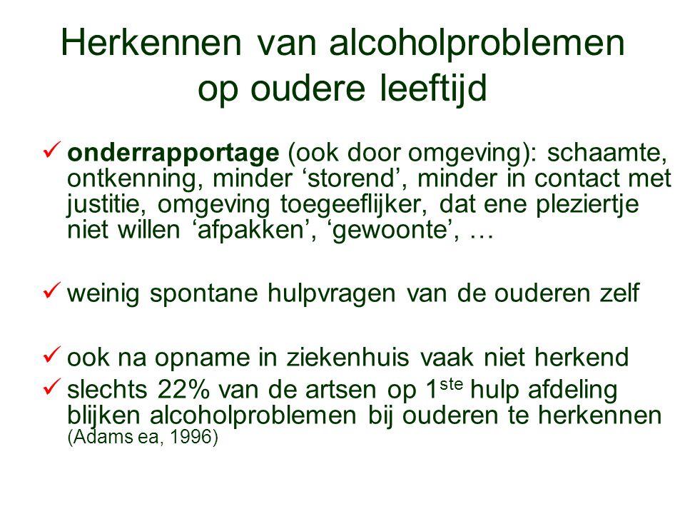 Herkennen van alcoholproblemen op oudere leeftijd onderrapportage (ook door omgeving): schaamte, ontkenning, minder 'storend', minder in contact met j