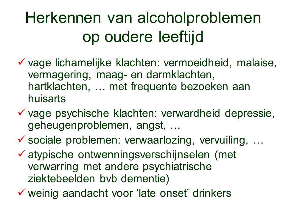 Herkennen van alcoholproblemen op oudere leeftijd vage lichamelijke klachten: vermoeidheid, malaise, vermagering, maag- en darmklachten, hartklachten,