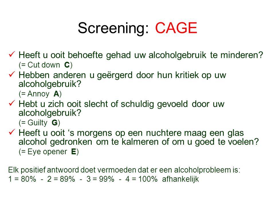 Screening: CAGE Heeft u ooit behoefte gehad uw alcoholgebruik te minderen? C (= Cut down C) Hebben anderen u geërgerd door hun kritiek op uw alcoholge