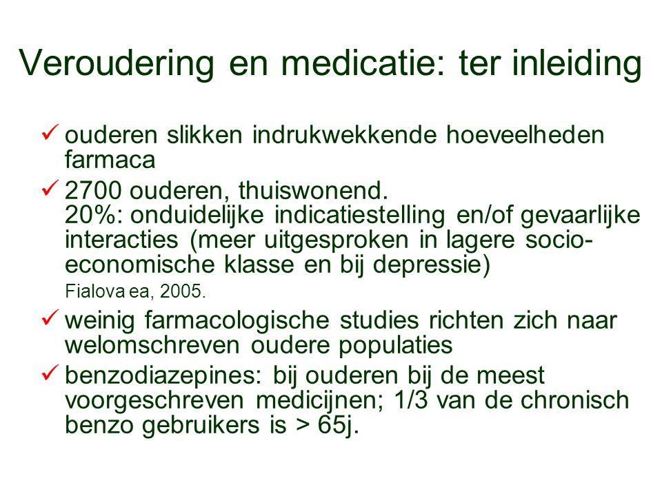 Veroudering en medicatie: ter inleiding ouderen slikken indrukwekkende hoeveelheden farmaca 2700 ouderen, thuiswonend. 20%: onduidelijke indicatiestel