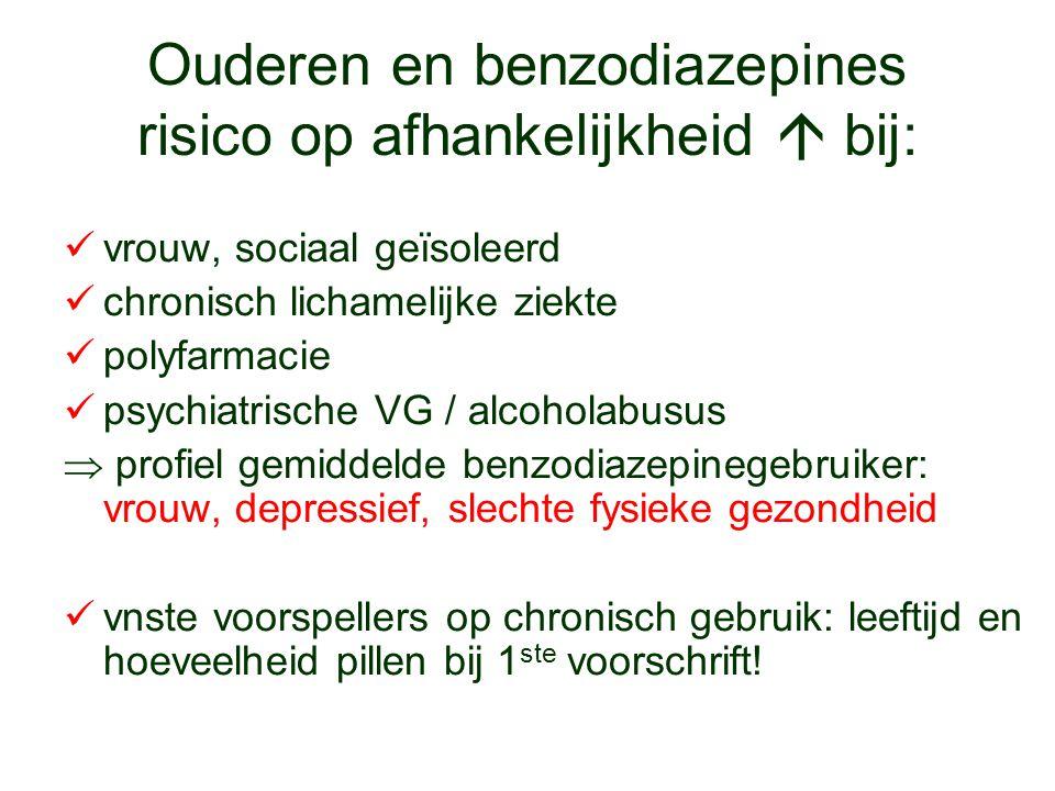Ouderen en benzodiazepines risico op afhankelijkheid  bij: vrouw, sociaal geïsoleerd chronisch lichamelijke ziekte polyfarmacie psychiatrische VG / a