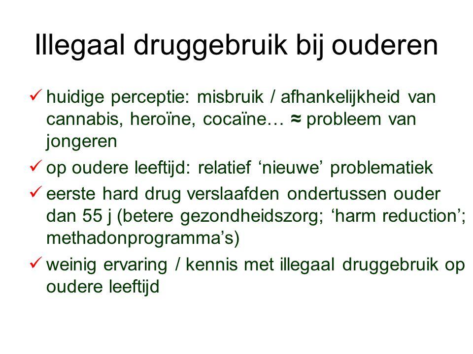 Illegaal druggebruik bij ouderen huidige perceptie: misbruik / afhankelijkheid van cannabis, heroïne, cocaïne… ≈ probleem van jongeren op oudere leeft