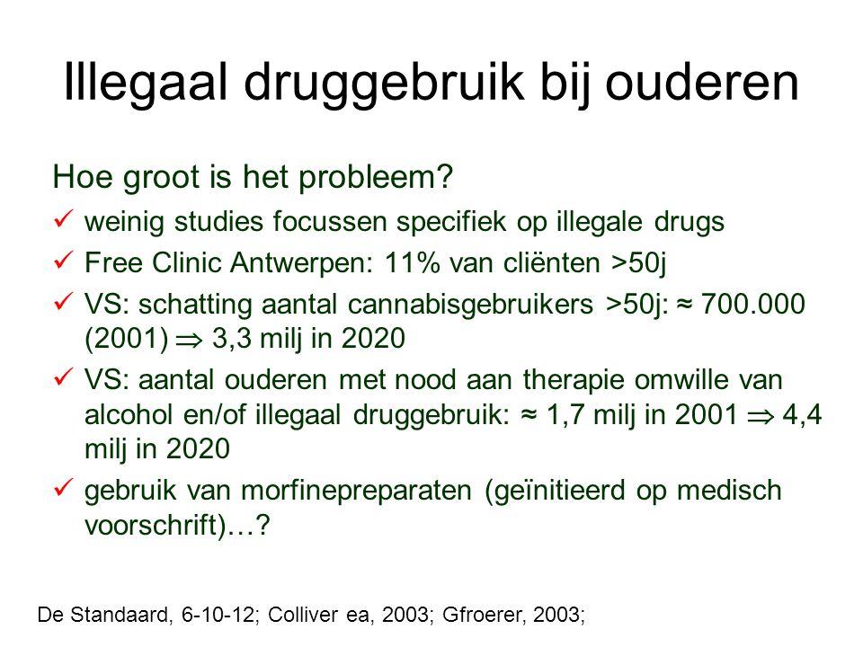 Illegaal druggebruik bij ouderen Hoe groot is het probleem? weinig studies focussen specifiek op illegale drugs Free Clinic Antwerpen: 11% van cliënte