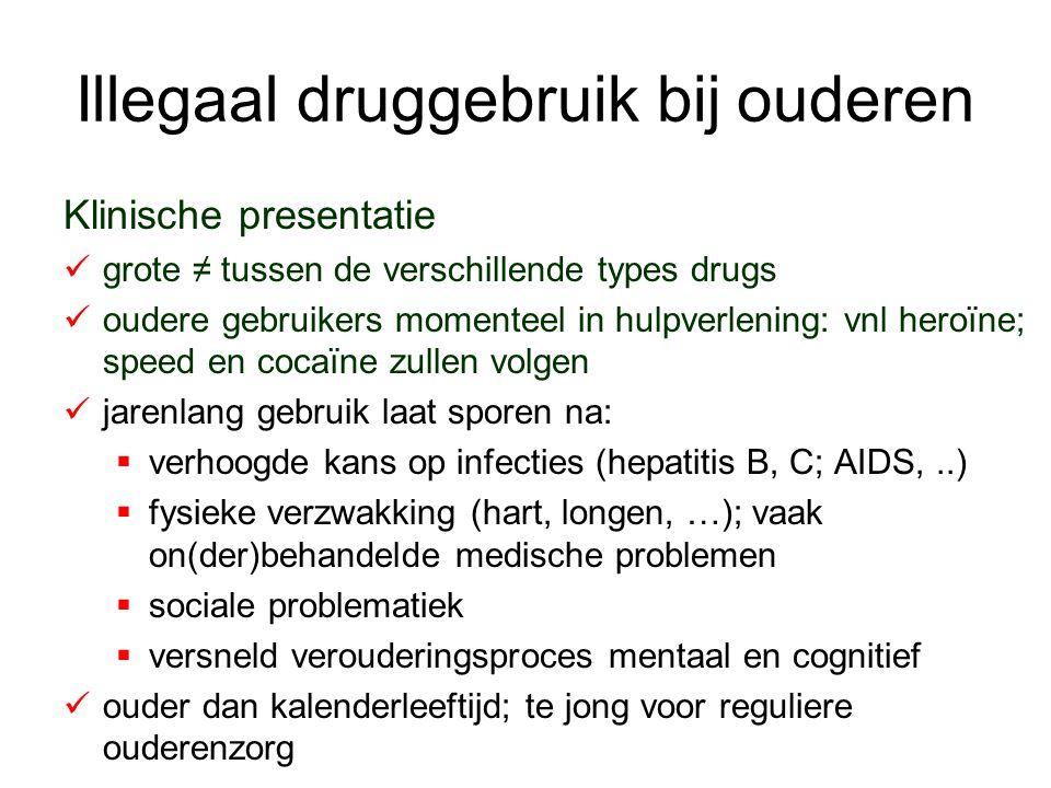 Illegaal druggebruik bij ouderen Klinische presentatie grote ≠ tussen de verschillende types drugs oudere gebruikers momenteel in hulpverlening: vnl h