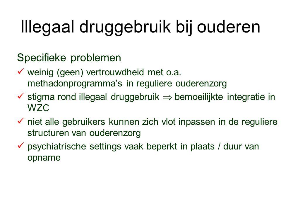 Illegaal druggebruik bij ouderen Specifieke problemen weinig (geen) vertrouwdheid met o.a. methadonprogramma's in reguliere ouderenzorg stigma rond il