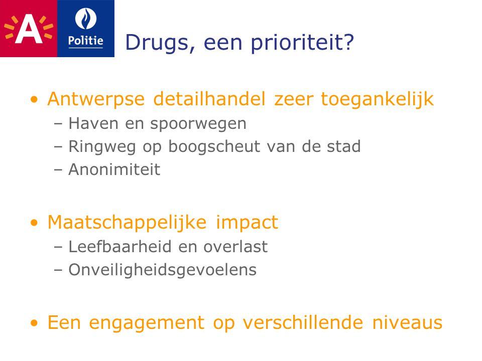 Drugs, een prioriteit? Antwerpse detailhandel zeer toegankelijk –Haven en spoorwegen –Ringweg op boogscheut van de stad –Anonimiteit Maatschappelijke