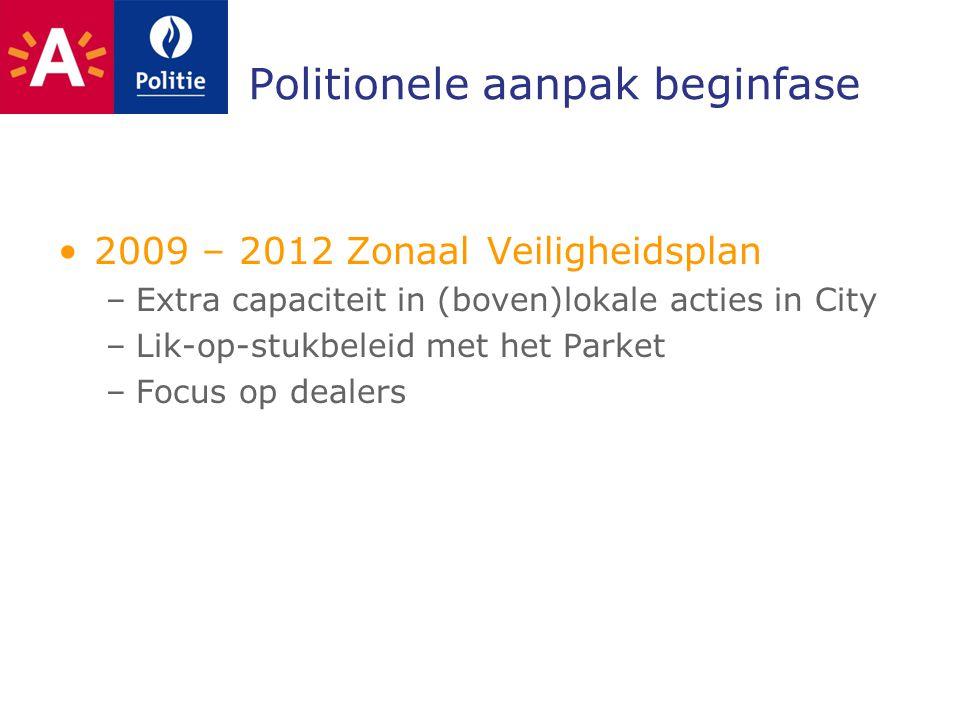 Politionele aanpak beginfase 2009 – 2012 Zonaal Veiligheidsplan –Extra capaciteit in (boven)lokale acties in City –Lik-op-stukbeleid met het Parket –Focus op dealers