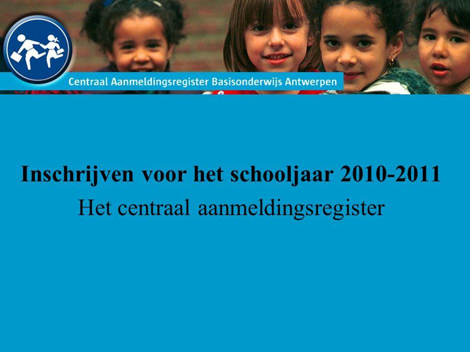 Inschrijven voor het schooljaar 2010-2011 Het centraal aanmeldingsregister