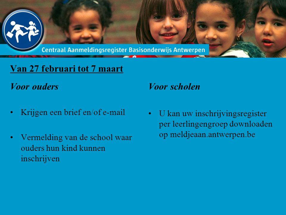 Van 27 februari tot 7 maart Voor ouders Krijgen een brief en/of e-mail Vermelding van de school waar ouders hun kind kunnen inschrijven Voor scholen U kan uw inschrijvingsregister per leerlingengroep downloaden op meldjeaan.antwerpen.be