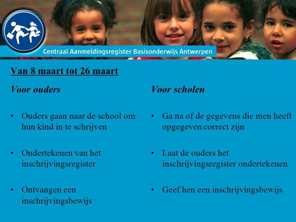 Van 8 maart tot 26 maart Voor ouders Ouders gaan naar de school om hun kind in te schrijven Ondertekenen van het inschrijvingsregister Ontvangen een i