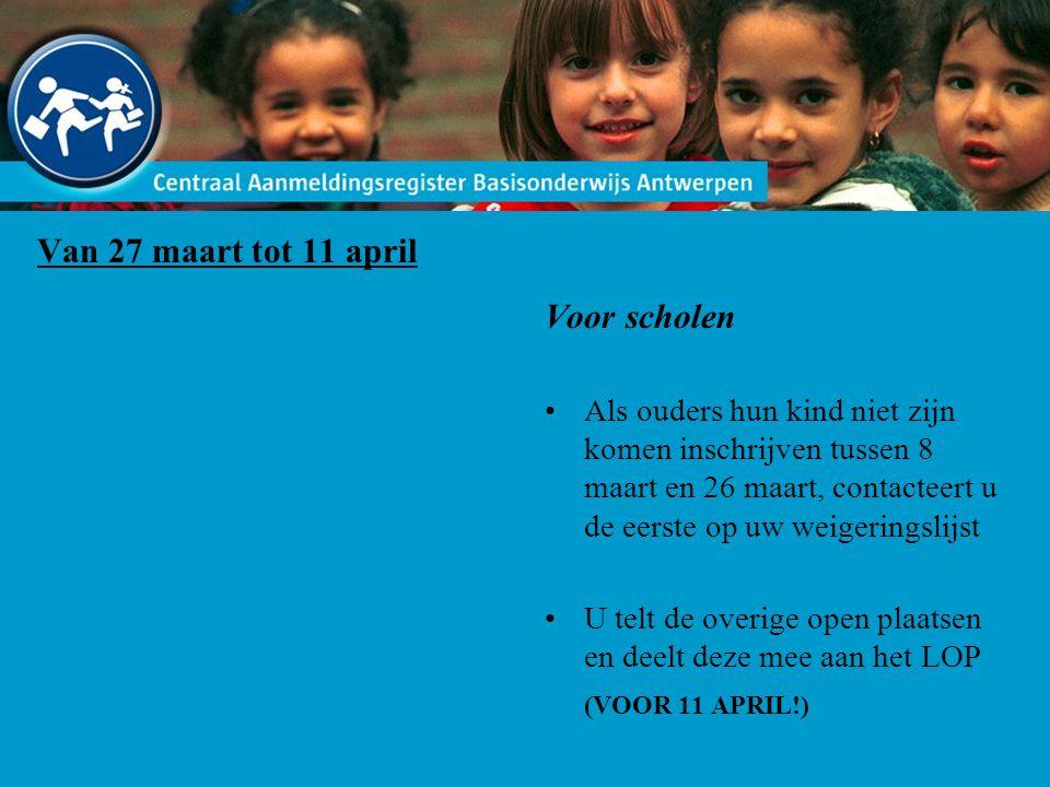 Van 27 maart tot 11 april Voor scholen Als ouders hun kind niet zijn komen inschrijven tussen 8 maart en 26 maart, contacteert u de eerste op uw weigeringslijst U telt de overige open plaatsen en deelt deze mee aan het LOP (VOOR 11 APRIL!)