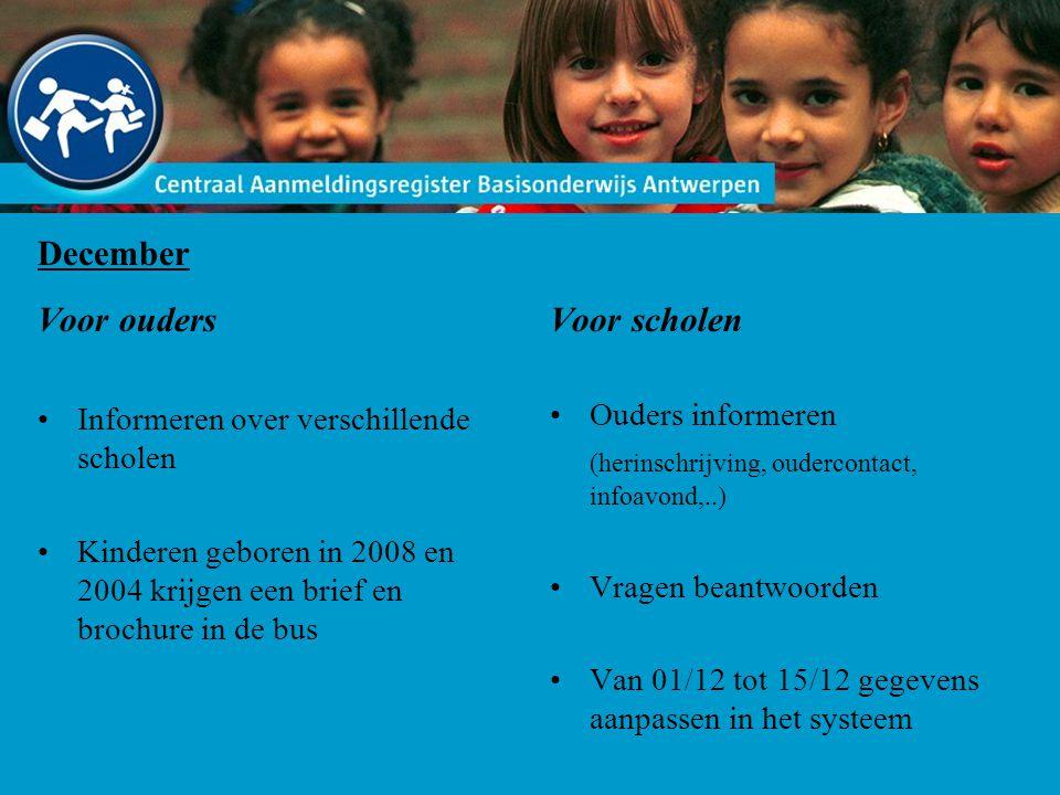 December Voor ouders Informeren over verschillende scholen Kinderen geboren in 2008 en 2004 krijgen een brief en brochure in de bus Voor scholen Ouder