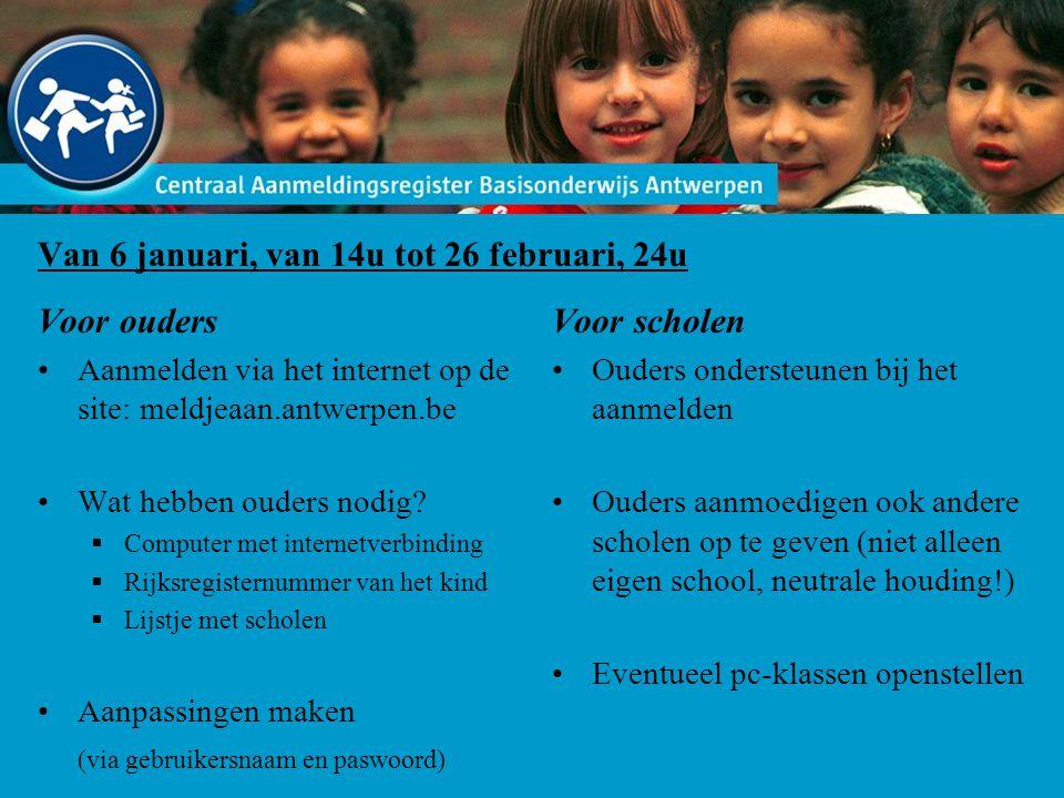 Van 6 januari, van 14u tot 26 februari, 24u Voor ouders Aanmelden via het internet op de site: meldjeaan.antwerpen.be Wat hebben ouders nodig?  Compu