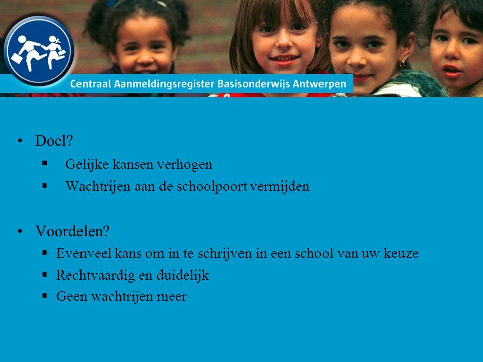 Doel.  Gelijke kansen verhogen  Wachtrijen aan de schoolpoort vermijden Voordelen.