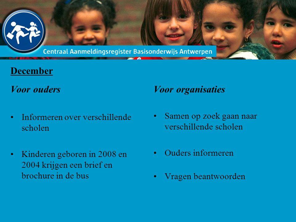 December Voor ouders Informeren over verschillende scholen Kinderen geboren in 2008 en 2004 krijgen een brief en brochure in de bus Voor organisaties Samen op zoek gaan naar verschillende scholen Ouders informeren Vragen beantwoorden