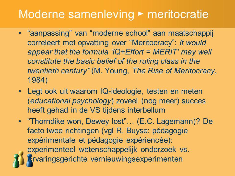 """Moderne samenleving ► meritocratie """"aanpassing"""" van """"moderne school"""" aan maatschappij correleert met opvatting over """"Meritocracy"""": It would appear tha"""