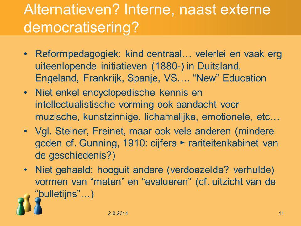 Alternatieven. Interne, naast externe democratisering.