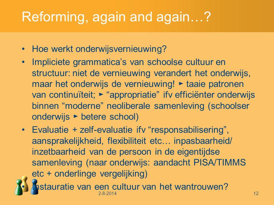 Reforming, again and again…. Hoe werkt onderwijsvernieuwing.