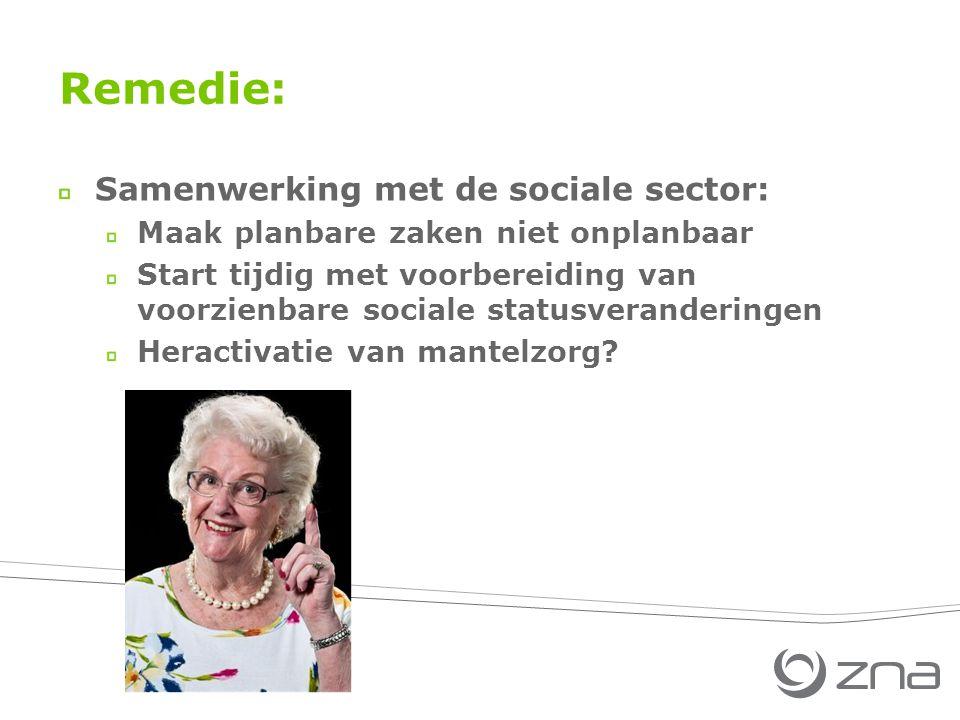 Remedie: Samenwerking met de sociale sector: Maak planbare zaken niet onplanbaar Start tijdig met voorbereiding van voorzienbare sociale statusveranderingen Heractivatie van mantelzorg
