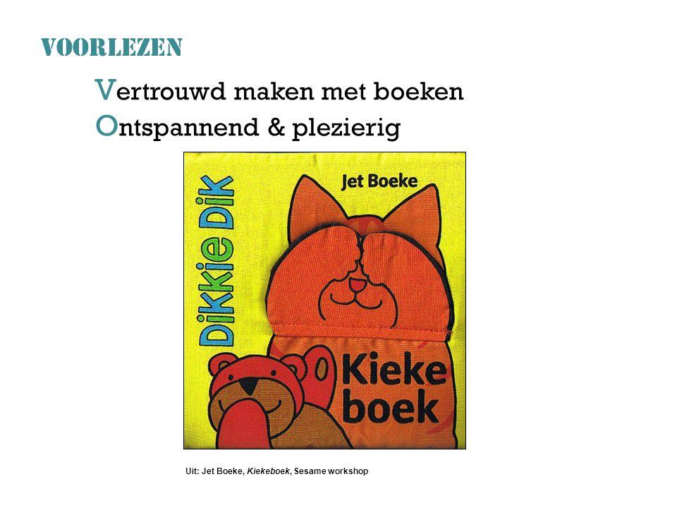 V ertrouwd maken met boeken O ntspannend & plezierig VOORLEZEN Uit: Jet Boeke, Kiekeboek, Sesame workshop